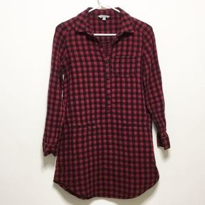 NWOT Rubbish Red & Black Checkered Tunic Flannel